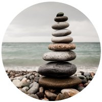 Stacked stones on a rocky beach