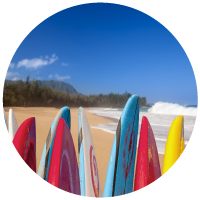Photo of surf boards on beach