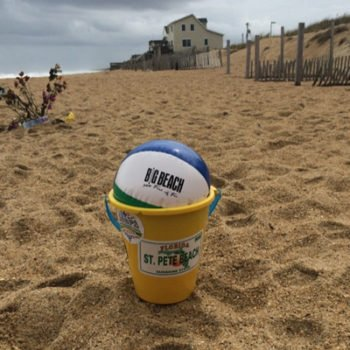 ASBPA conference bucket, with sticker logos from the annual coastal conferences since 2008, finds its way to Kitty Hawk, NC for the ASBPA Dune Management Challenges on Developed Coasts Workshop (2015).